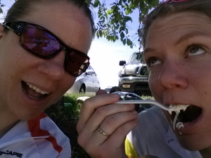 me and my sister enjoying  success ... and the post-ride lunch