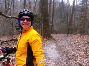 bundled up and ridiculously happy to be biking in the woods