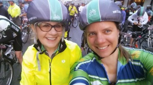 Elizabeth and I at the start of the 5 Boro Tour.